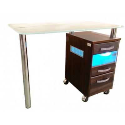 Стол маникюрный стеклянная  столешница УФ блок